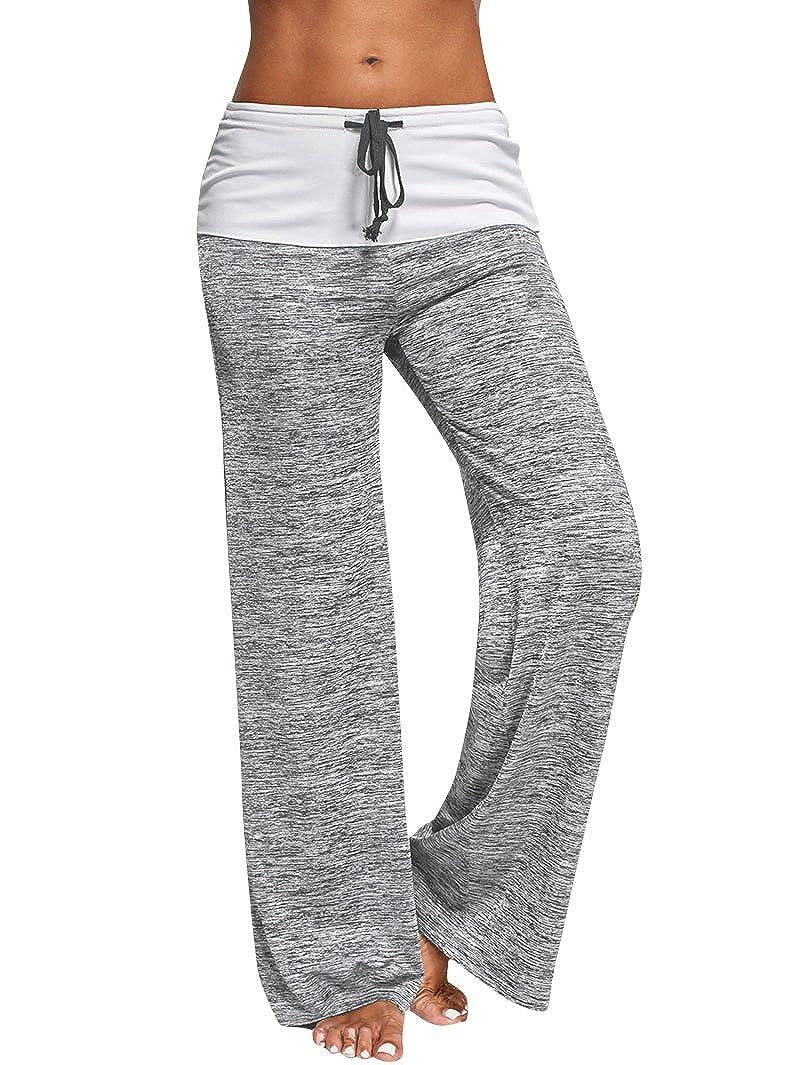 Mujer Pantalones Anchos Casual Talle Alto Pantalón Yoga Jogging Deportivos  de Pierna Largo Cintura Media Pantalón Suave Yoga Fitness Deportes Tallas  ... fe4e7b449f7b