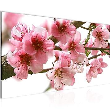 Amazon.de: Runa Art Bilder Blumen Sakura Wandbild Vlies - Leinwand ...
