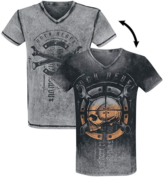 Rock Rebel by EMP Heavy Soul Camiseta Gris/Negro: Amazon.es: Ropa y accesorios