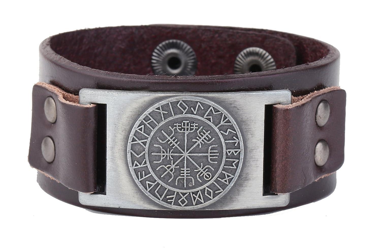 Bracelet en cuir style Viking avec motif en runes qui signifie « pas perdu en soi-même » - 24 amulettes GeXiang