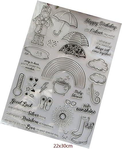 Arco Iris paraguas silicona transparente sello hojas, scrapbooking, álbum, sellos de silicona Clear Stamps DIY Artesanía Scrapbooking Decorar: Amazon.es: Hogar