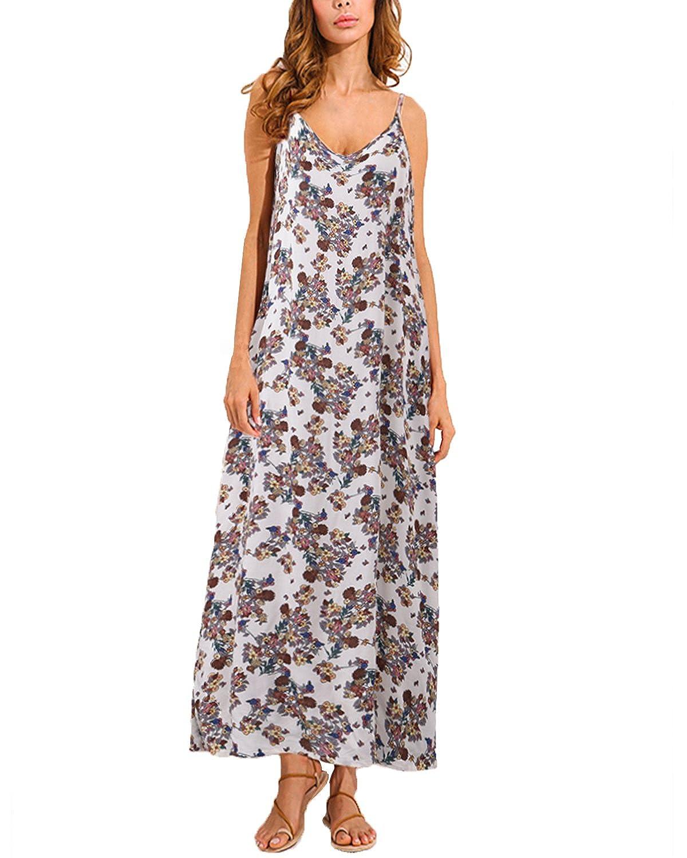 TALLA EU 44. ZANZEA Mujeres Casual Elegante Algodón Vestido Suelto Largo Playa Lunares Cuello V sin Mangas (EU 44, 1 Blanco)