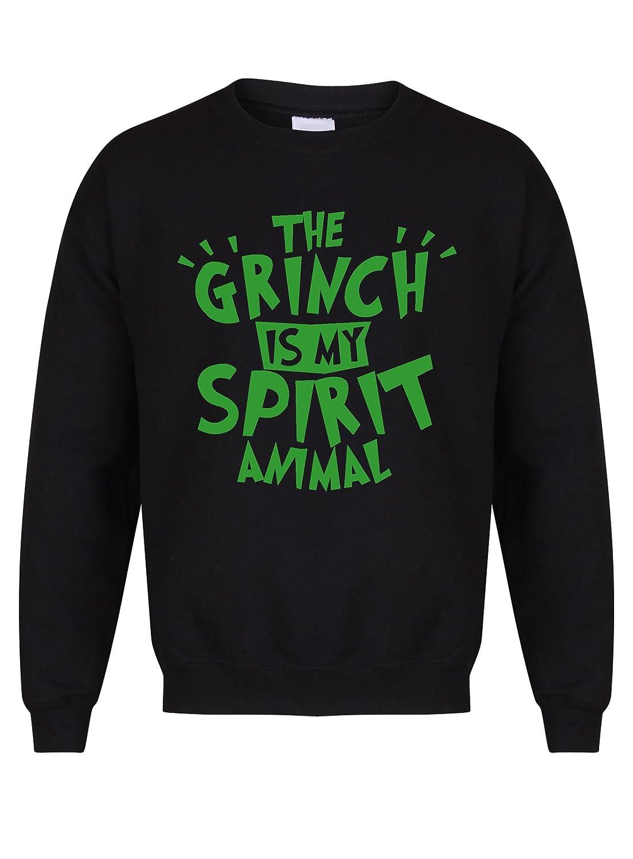 The Grinch Is My Spirit Animal - Black - Unisex Fit Sweater - Fun Slogan Jumper