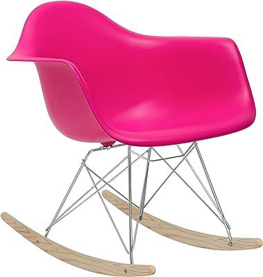 POLY & BARK EM-121-FUS-AMA Rocker Lounge Chair, Fuchsia