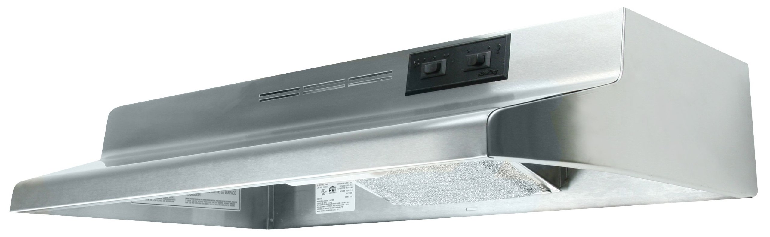 Quiet Zone Stainless Steel 30'' Wide 2 Speed Under Cabinet Range Hood California Title 24 Acceptable