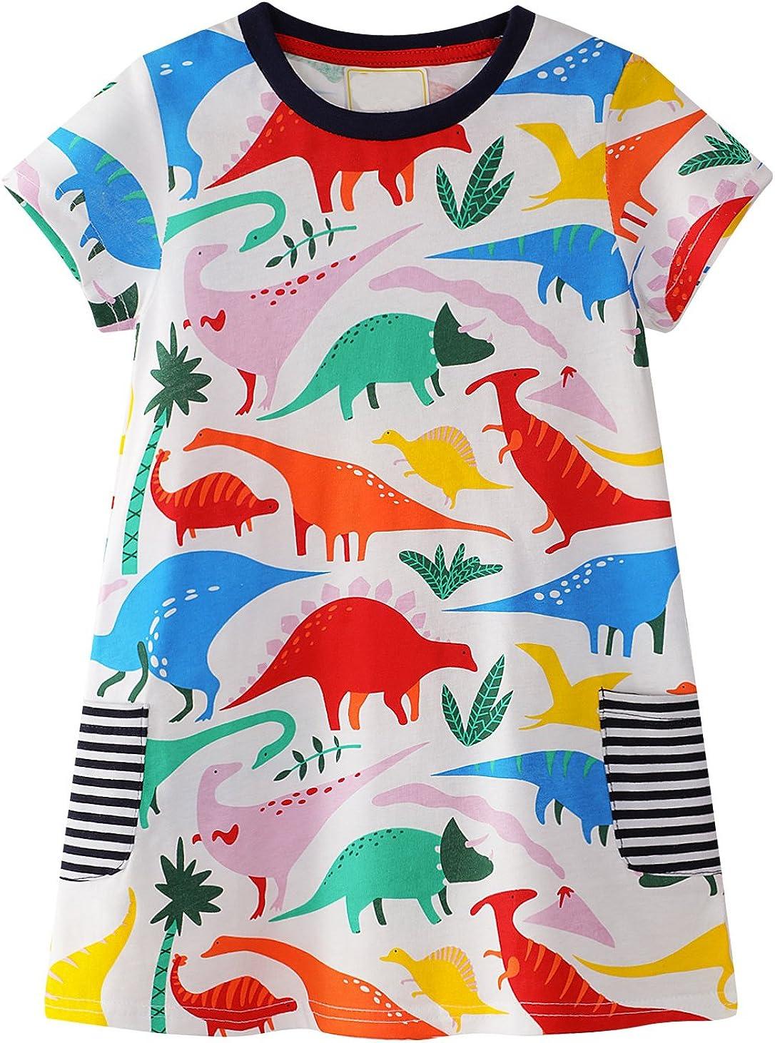 GSVIBK Kid Girls Cotton Dresses Girl Long Sleeve Cartoon Dress Baby Cute Dresses Toddler Dinosaur Dress