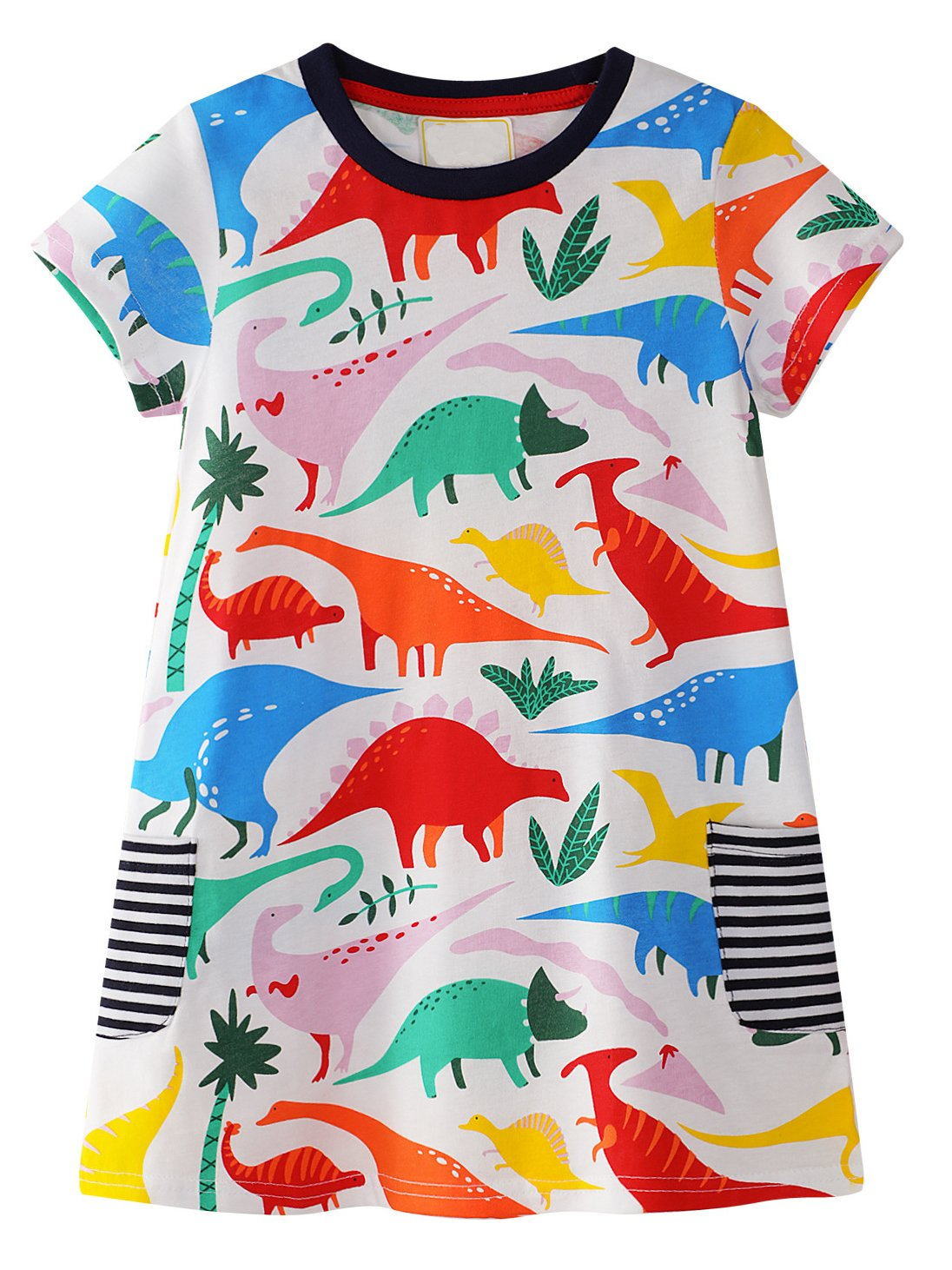 GSVIBK Kid Girl Cotton Dress Toddler Short Sleeve Dress Cartoon Cute Dresses Crew-Neck Summer (6T, 1Dinosaur-3)