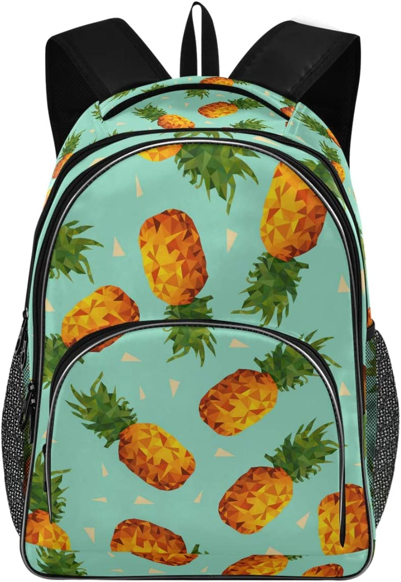 College School Laptop Backpack 15.6 Inch - Pineapple Fruit Waterproof Students Backpack with USB Charging Port for Women Computer