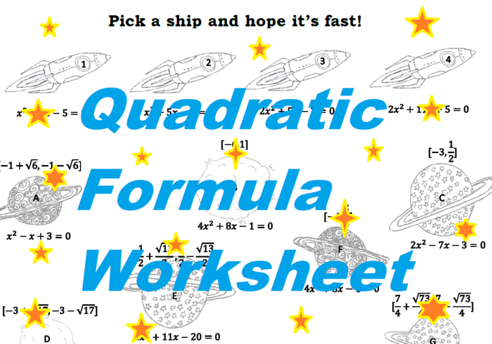 Inject A Little Fun Into Practicing Solving Equations Using The Quadratic Formula This Space Themed Worksheet Contains A Variety Of Quadratic Equations Meant To Be Solved Using The Quadratic Formula Students Travel From Planet To Planet And Use Their Solutions