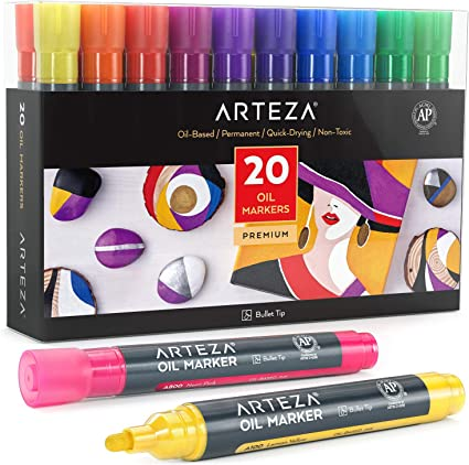 Arteza Rotuladores permanentes de colores con | Pack de 20 | Tinta al óleo | Rotuladores para pintar en cartulina negra, piedra, madera y más: Amazon.es: Oficina y papelería