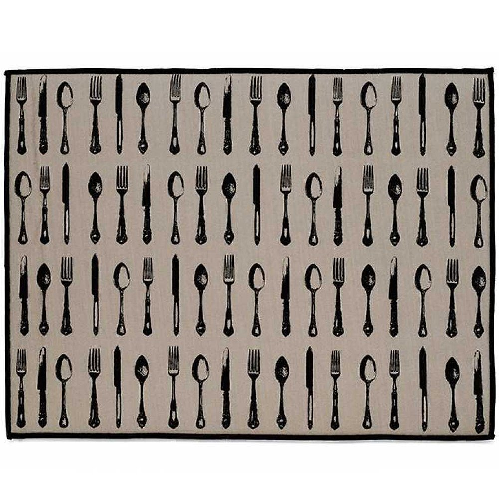 Harman LUXE Microfiber Dishes Drying Mat 15x20 Inch Vintage Cutlery 4585702