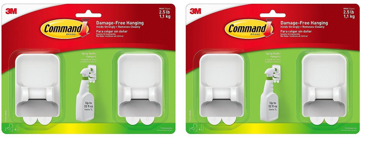 Command Spray Bottle Hangers Value Pack, 2-Hangers, 4-Large Strips (17009-HW2ES) (4 Hangers)