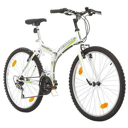 Multibrand, PROBIKE FOLDING MTB 26, 26 pollici, 457mm, Mountain Bike pieghevole, 18 velocità, Full Suspension, Unisex, , grigio verde, 26 inch (Bianco/Verde-Grigio, 26x18)