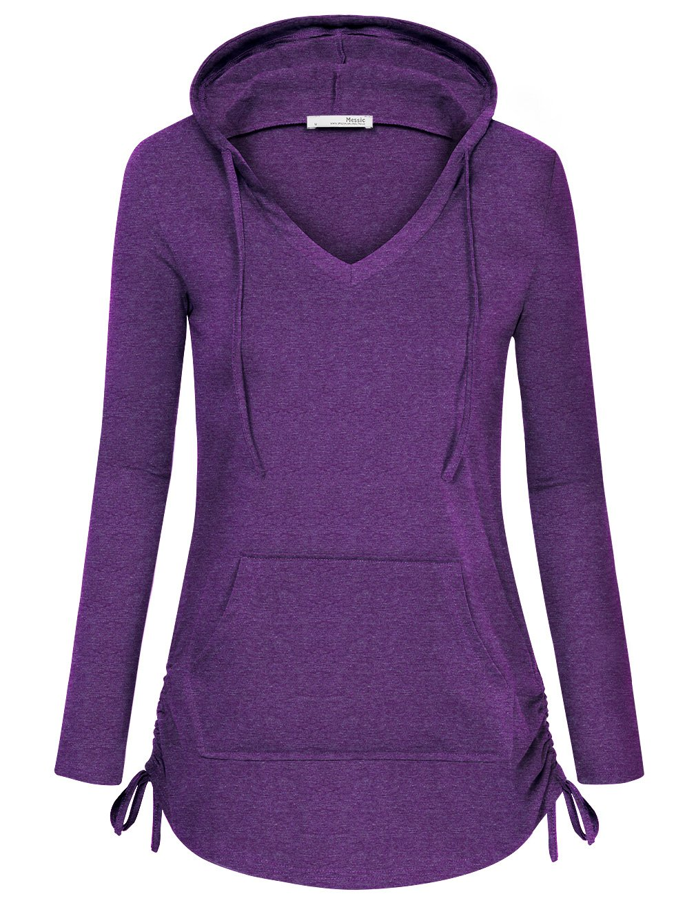 Messic Tunic Hoodies, Womens Fashion Fitted Vintage Long Sleeve V Neck Pullover Sweatshirt with Kangaroo Pocket (X-Large, Violet) by Messic