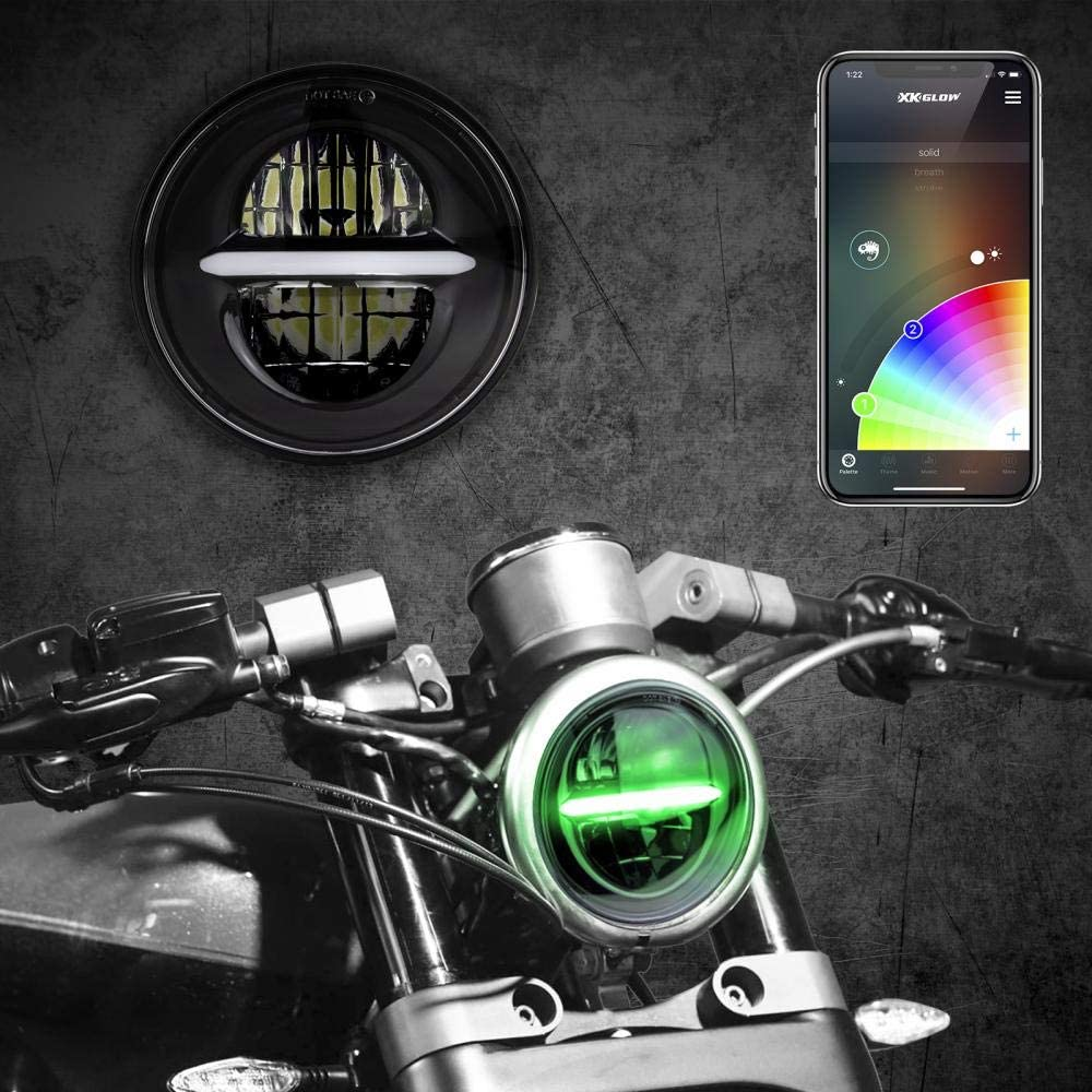 CHROME 5.75 RGB LED Harley Headlight XKchrome Bluetooth App Controlled Kit w//Color Changing DRL Feature