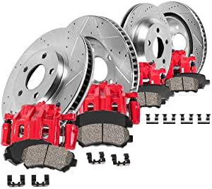 CCK12263 Low Dust Ceramic Brake Pads 2 REAR Performance Loaded Powder Coated Red Remanufactured Caliper Assembly