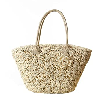 a7dfdabe8775 Shoulder Straw Flower Bag Handbags Solid Color Outdoor Woven Women Knitting  Bag Leisure Travel Beach Tote