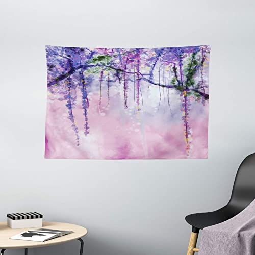 Ambesonne Watercolor Flower Tapestry, Wisteria Flowers on Blurred Background with Dreamy Colors, Wide Wall Hanging for Bedroom Living Room Dorm, 60 X 40 , Purple Pink