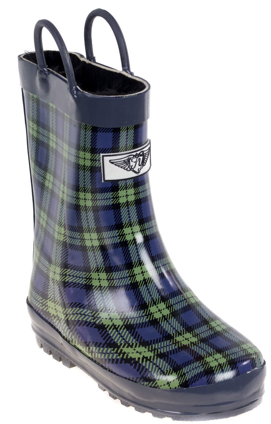 Kids Rain Boots, Faux Fur Lined Rubber Boots with Handles, Blue Green Plaid Size 13