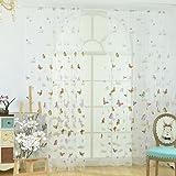 AAA226, tenda con romantico motivo a farfalle,in tulle; tenda per finestra, porta, mantovana, separé; decorazione per la casa, Purple, 100*270cm
