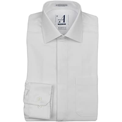Alviso Boys White Textured Long Sleeve Dress Shirt