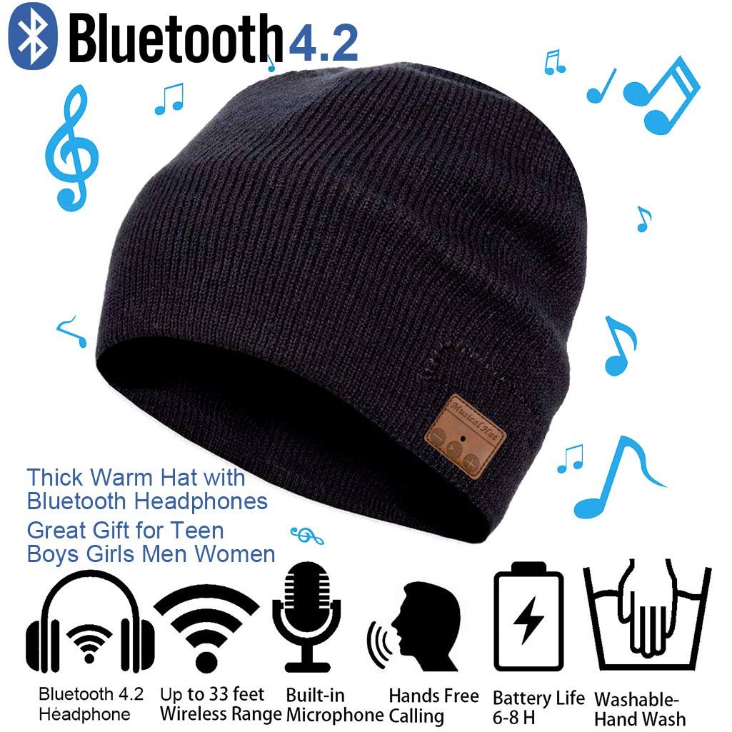 Bluetooth Beanie Hat Cap Winter Outdoor Sport Knit Toque with Wireless Stereo Headphone Headset Earphone Speaker Mic Hands Free Talking Thick Warm hat for Men Women Boys Girls Black