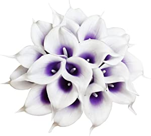 20Pcs Calla Lily Artificial Real Touch Latex Flowers Fake Wedding Bouquet Home Wedding Party Decor (Purple White)