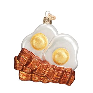 Old World Christmas Ornaments: Bacon and Eggs Glass Blown Ornaments for Christmas Tree