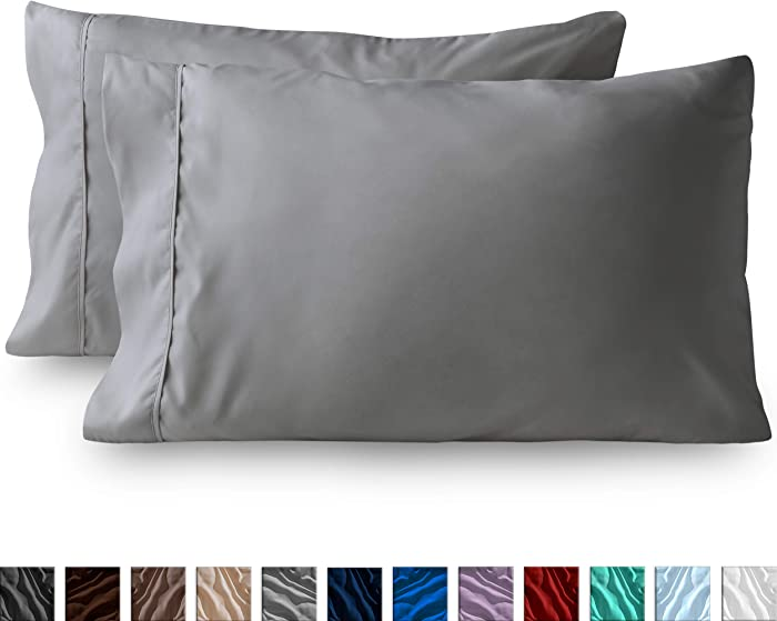 Bare Home Premium 1800 Ultra-Soft Microfiber Pillowcase Set - Double Brushed - Hypoallergenic - Wrinkle Resistant (King Pillowcase Set of 2, Light Grey)