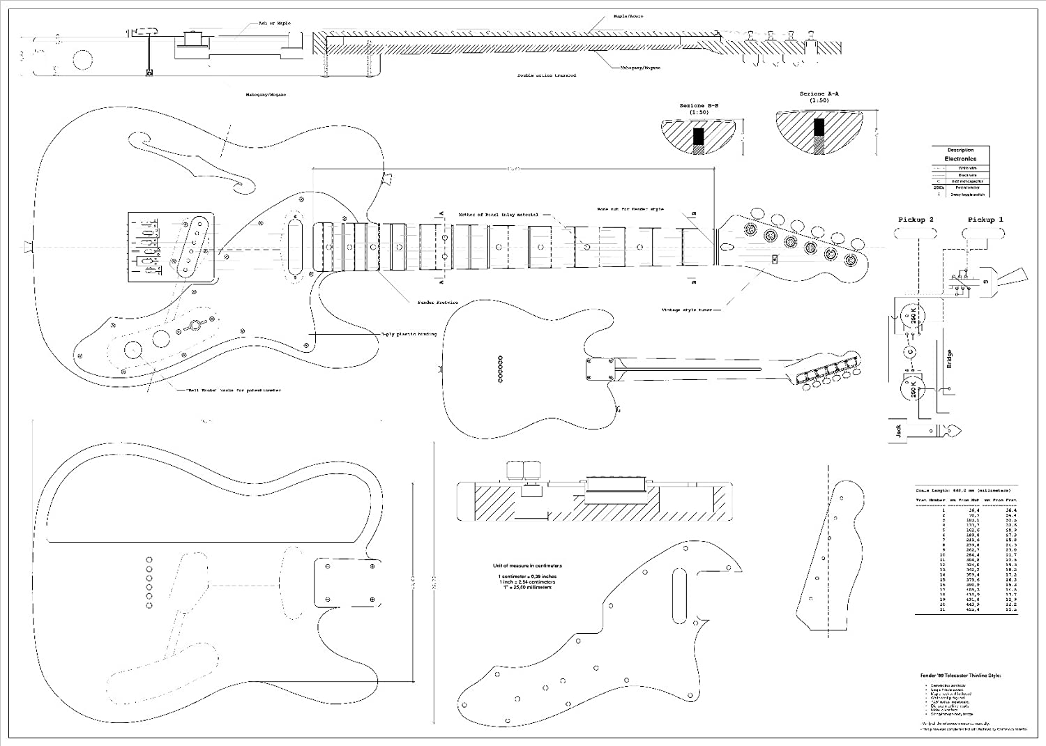 Full Scale Plans For The Fender Telecaster 1969 Thinline 52 American Vintage 4 Way Wiring Diagram Electric Guitar Musical Instruments