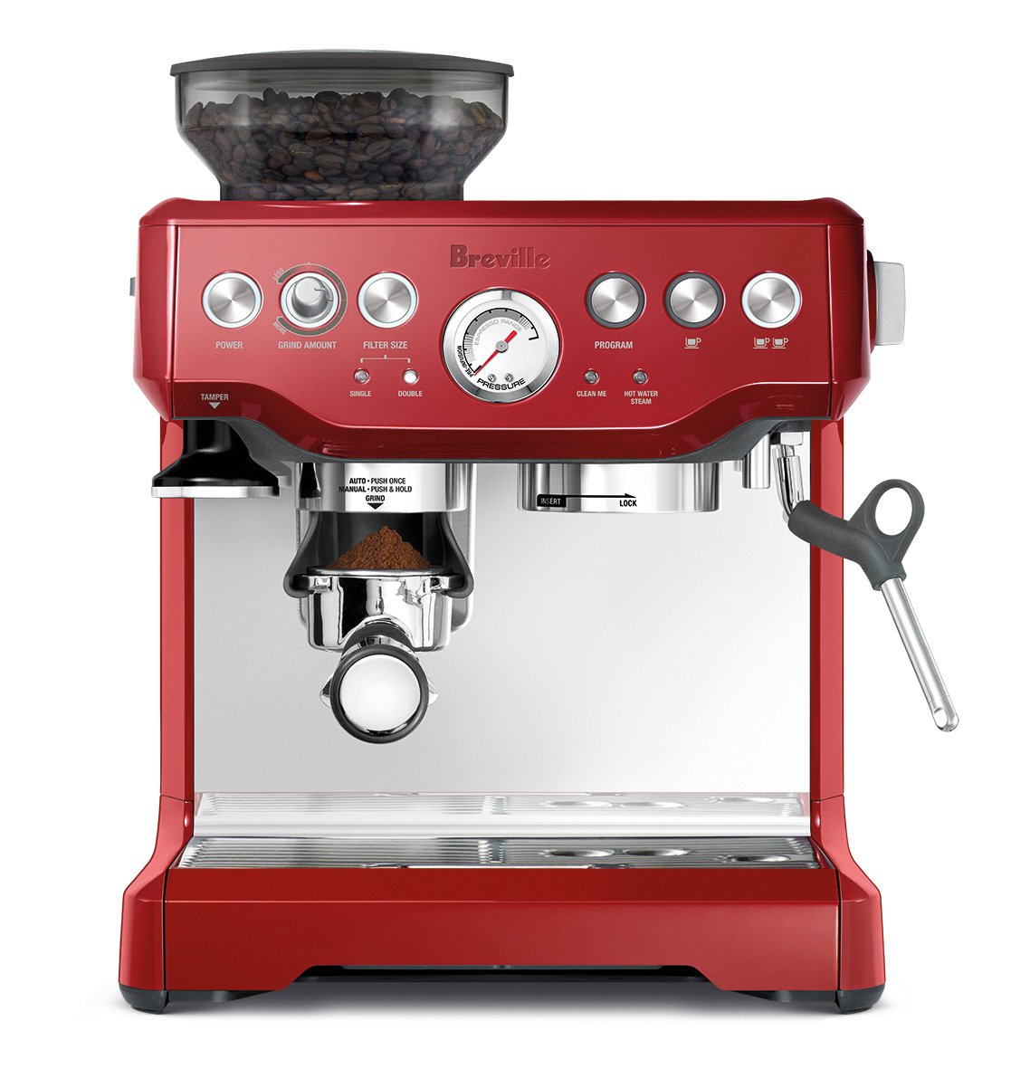 Breville BES870CBXL The Barista Express Coffee Machine, Cranberry Red
