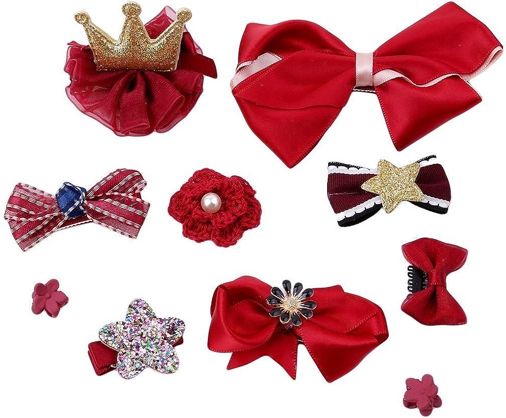 prelikes 10 Pcs Girl Bowknot Flower Hair Clip Multi-Style Bow Hairpin Ribbon Xmas Gift