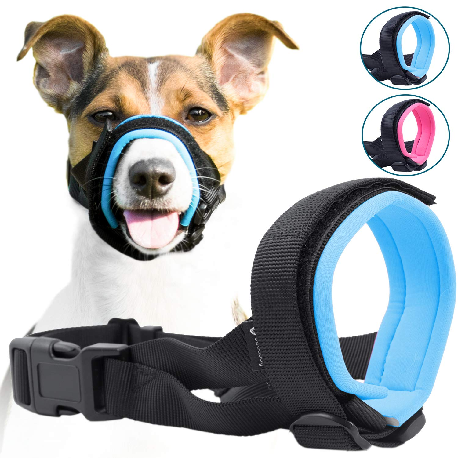 bluee Extra Large bluee Extra Large Gentle Muzzle Guard for Dogs Prevents Biting and Unwanted Chewing Safely New Secure Comfort Fit Soft Neoprene Padding No More Chafing Training Guide Helps Build Bonds with Pet (XL, bluee)