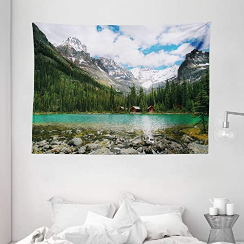 Ambesonne Landscape Tapestry, Canada Ohara Lake Yoho National Park with Mountains Nature Scenery Art Photo, Wide Wall Hanging for Bedroom Living Room Dorm, 80 X 60 , Green Blue