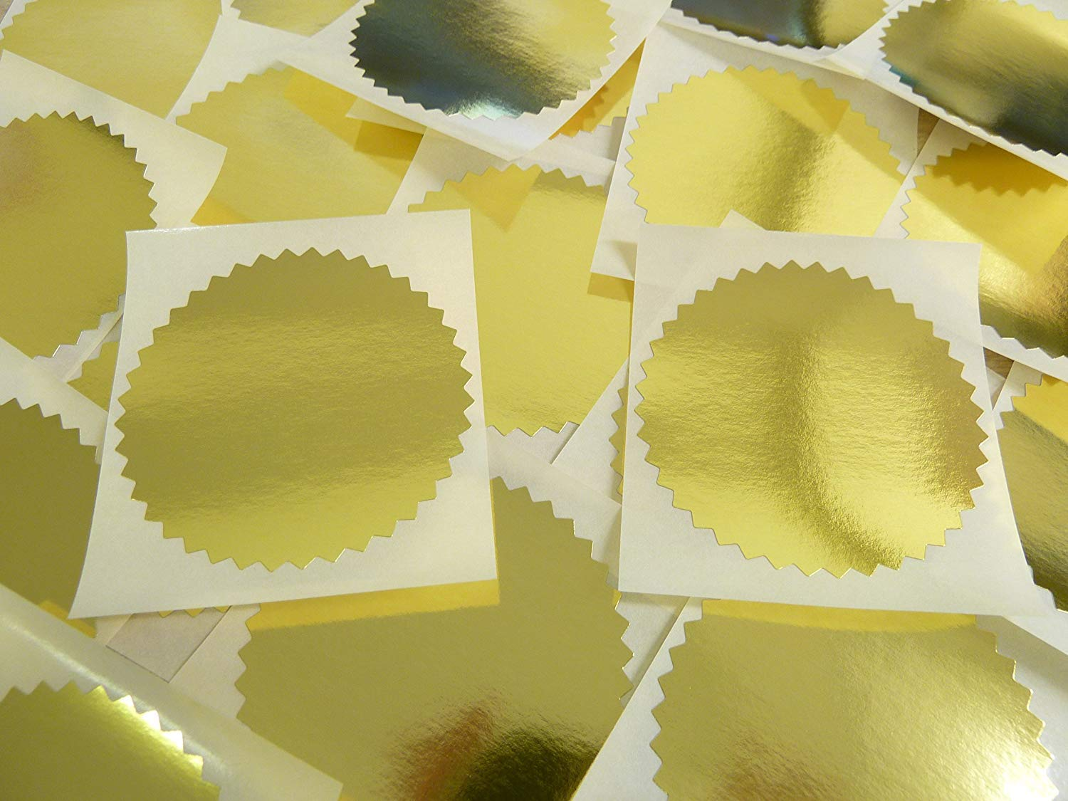 Shiny Gold Stickers for Embossing Awards /& Rewards Minilabel 50mm Serrated Edge Certificate Wafer Company Seal Labels