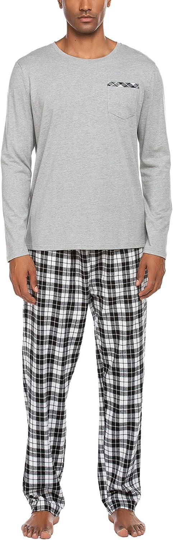Ekouaer Pajama Set Men's Long Sleeve Sleepwear with Plaid Pants Comfy Pjs Set with Pockets Loose Lounge Set: Clothing