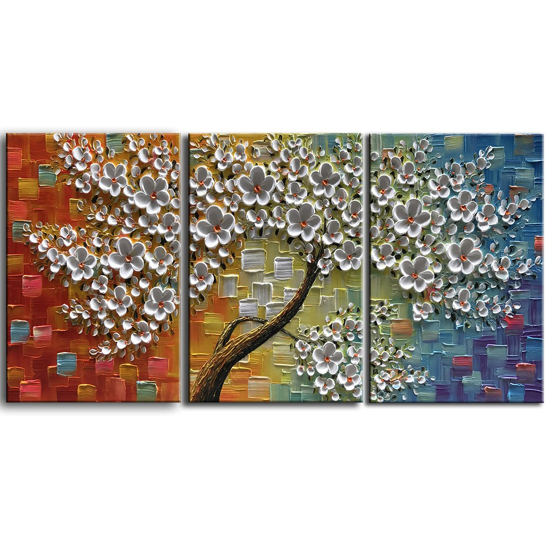 YaSheng Art -3D Abstract Oil Painting On Canvas Texture 3D Flowers Tree Paintings Modern Home Decor Wall Art for living room Framed Ready to Hang 28''x20''inchx3 Piece
