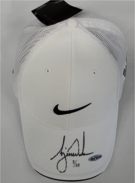 758e535dbf864 Tiger Woods Signed Autograph White Nike Victory Swoosh Logo Hat Cap UDA  25  at Amazon s Sports Collectibles Store