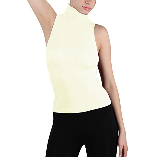8da234b32d Image Unavailable. Image not available for. Color: Seamless Sleeveless Mock  Neck Turtleneck Shaping Tank Top Hot Tee ...