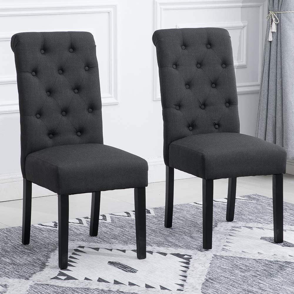 Amazon Com Homesailing Pair Taupe Dining Chair For Kitchen Restaurant Black Wood Leg Chairs With Comfy Fabric Upholstered Seat With Button High Back Chairs Set Of 2 Chairs