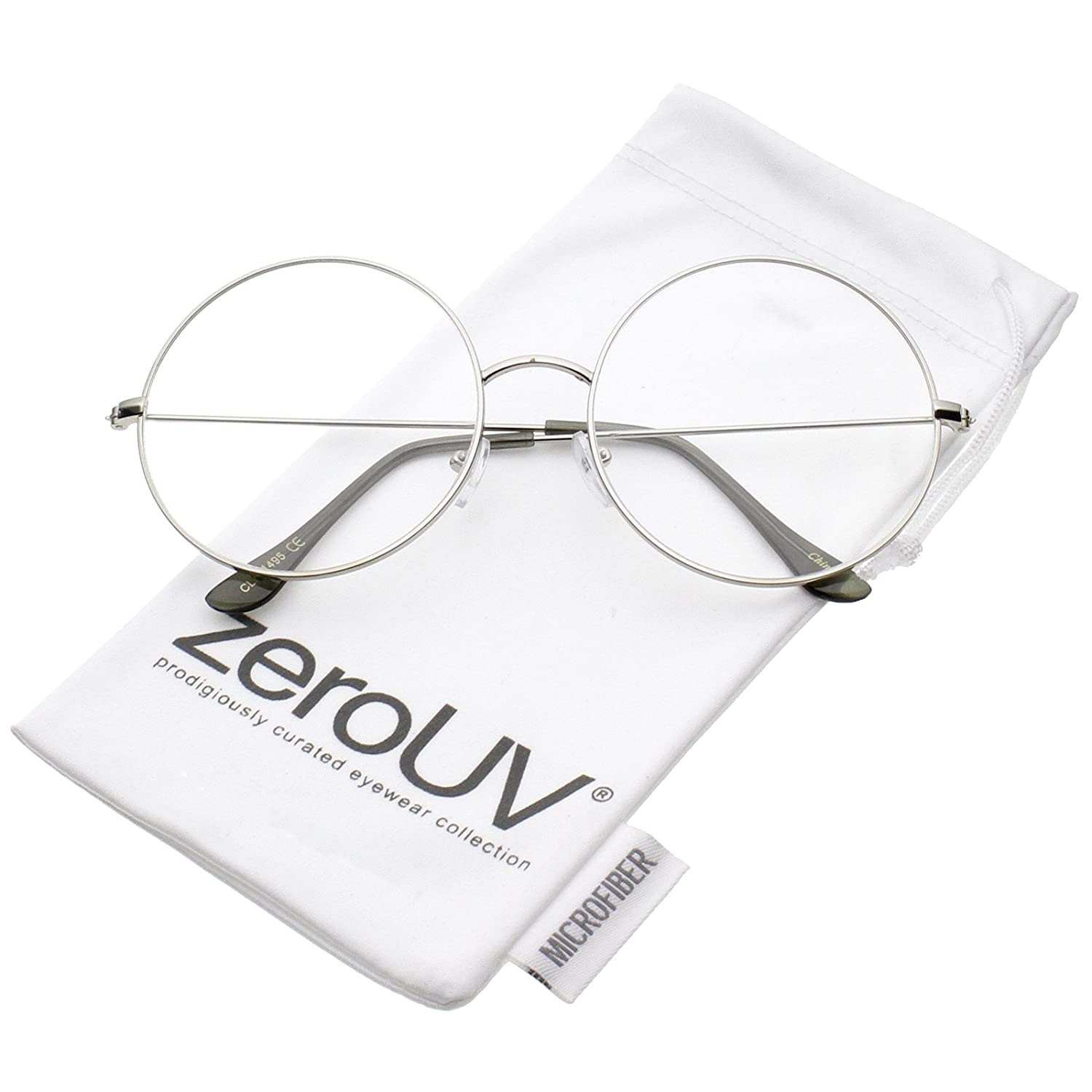 cceb9fe92b Amazon.com  zeroUV - Classic Oversize Slim Metal Frame Clear Flat Lens  Round Eyeglasses 56mm (Silver Clear)  Clothing