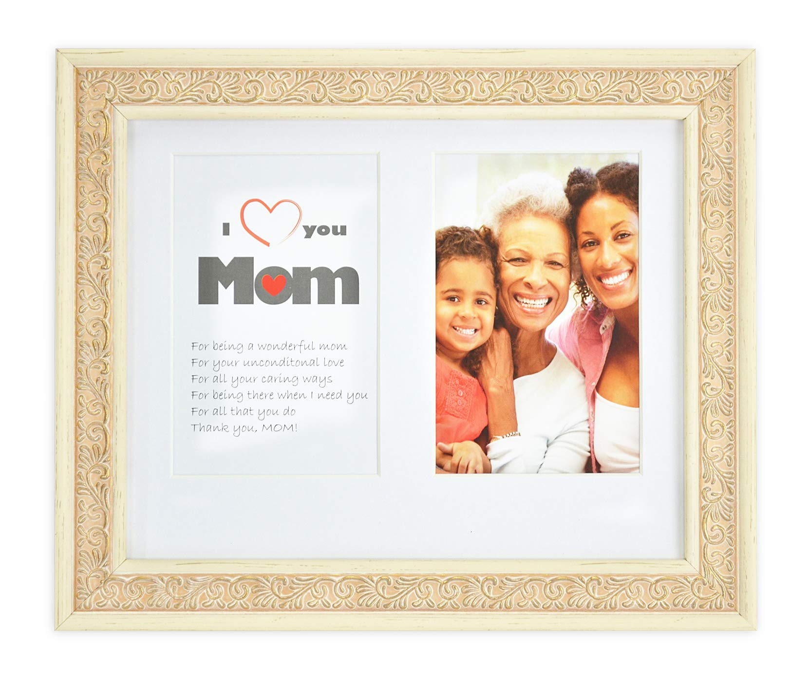 Golden State Art 8x10 Frame Two 4x6 Photo - White