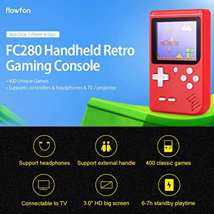 KKmoon FC280 Nostalgic Handheld Game Console Built-in 400 Video Games 3.0 Inch FC TV Output Children Birthday Gift
