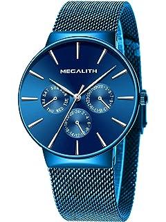 Relojes Negros para Hombre Reloj de Malla Impermeable de ...