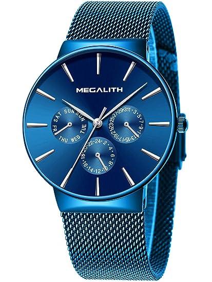 comprar popular 1a48e d04b8 Relojes Hombre Relojes de Hombre Lujo Moda Impermeable Fecha Calendario  Diseño Simple Analogicos Cuarzo Relojes de Pulsera de Malla de Acero ...