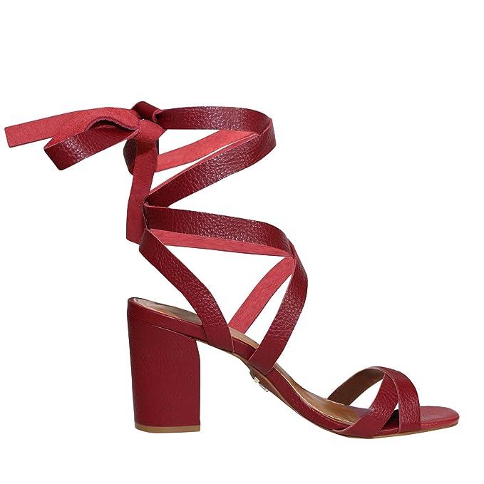 2e52f4f8e29 Amazon.com  Carrano Womens Beatriz Strappy Sandal Pomegranate 7 ...