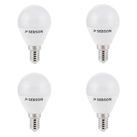 SEBSON® 4x RA95 + flicker free, E14 Bombilla LED 6W, Calido Blanca 2700K