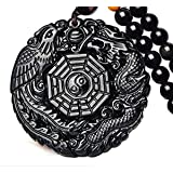 Pure Natural Obsidian Pendant Necklace Obsidian Crystal Pendant Necklace Pattern with Extend Bead Chain for Men or Women