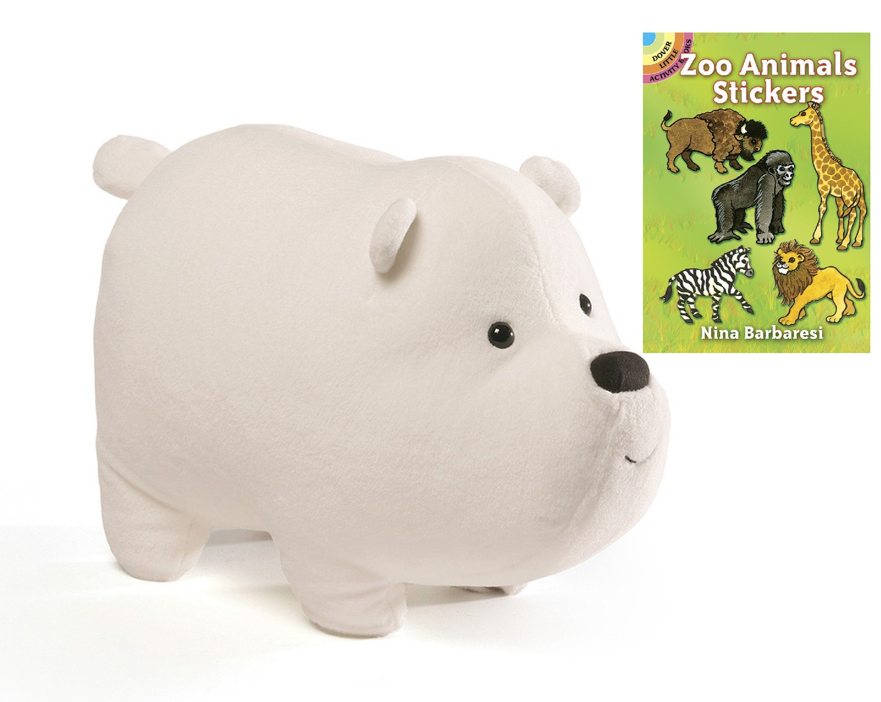 Gund Cartoon Network ''We Bare Bears'' Ice Bear 12'' Plush with Zoo Animals Sticker Book