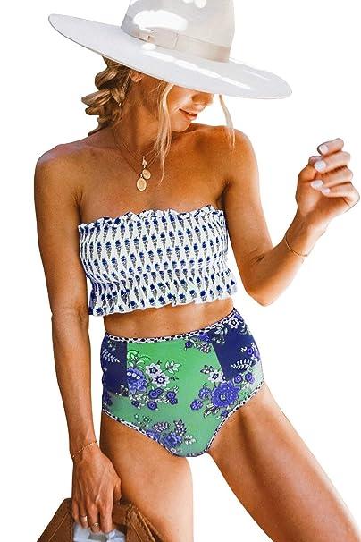 Amazon.com: LEANI traje de baño de 2 piezas para mujer con ...